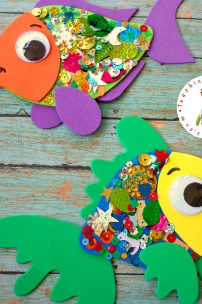This cute, confetti-covered rainbow fish craft is a great follow-up activity after you read The Rainbow Fish by Marcus Pfister.