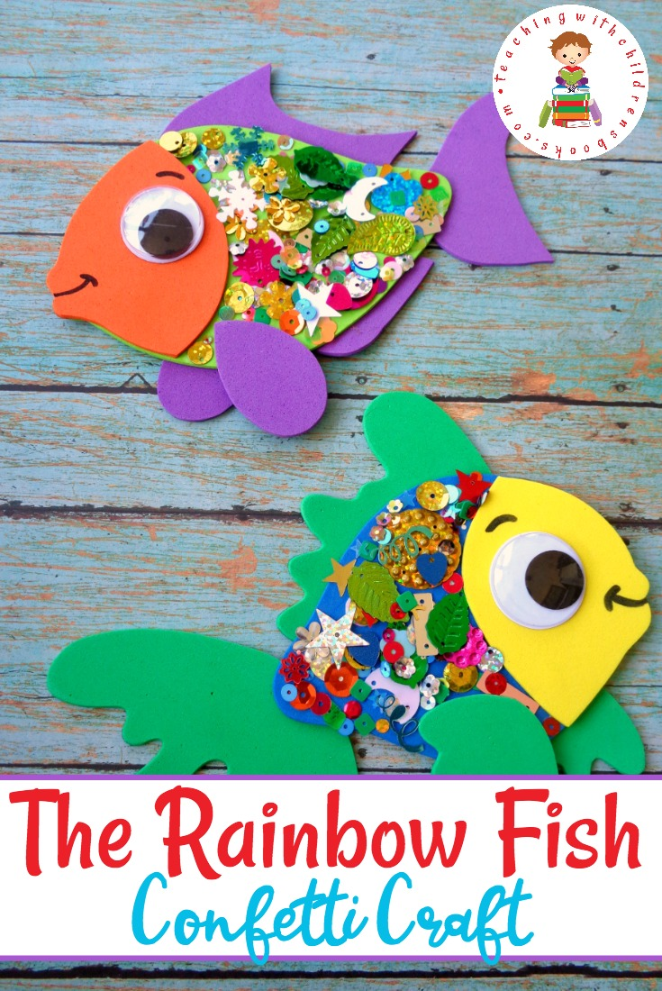 A simple rainbow fish craft for kids with free template for Fish children s book