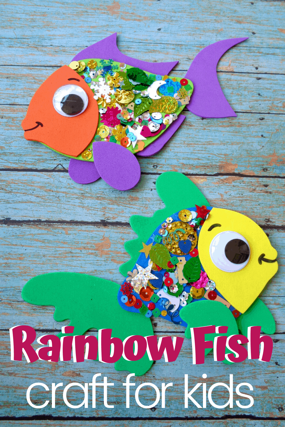 "After reading ""The Rainbow Fish"" with your kids, let them make this fun confetti-covered rainbow fish craft with a free template and instructions."