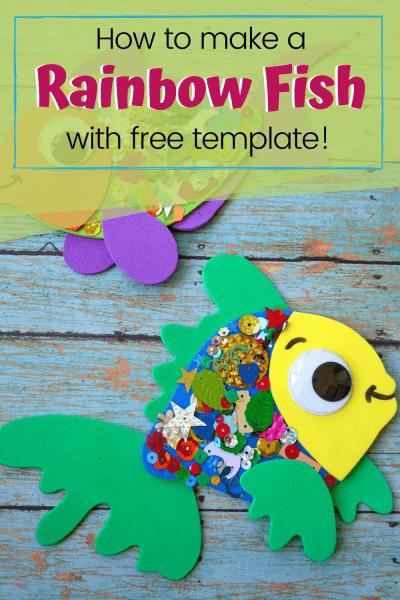 """After reading """"The Rainbow Fish"""" with your kids, let them make this fun confetti-covered rainbow fish craft with a free template and instructions."""