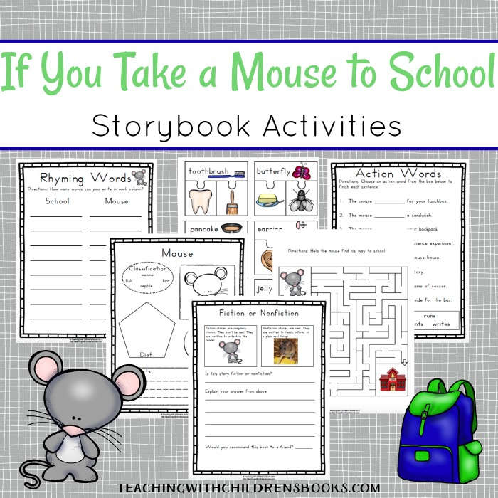 After reading If You Take a Mouse to School with your students, try out some of the fun hands-on activities and printables featured here.