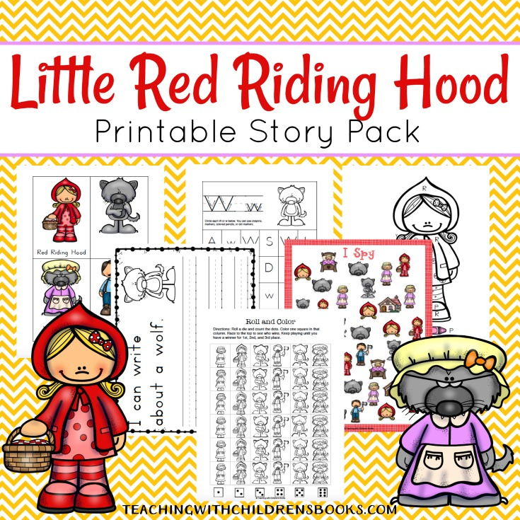 image relating to Little Red Riding Hood Story Printable known as Small Crimson Driving Hood Printable Tale Pack for Early Pupils
