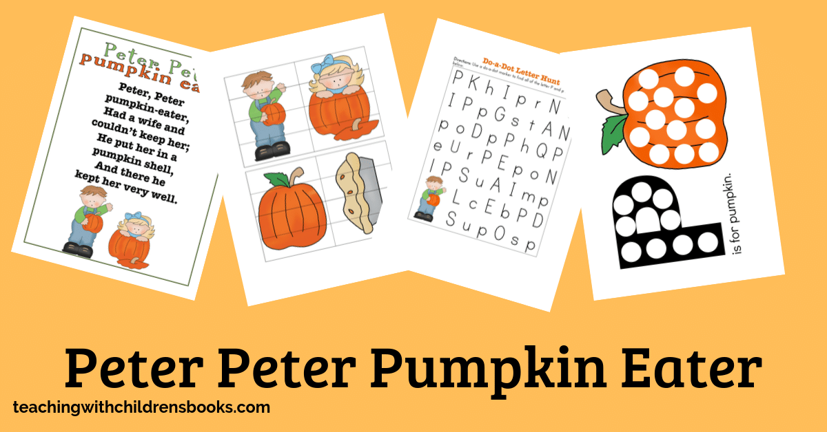Young kids love nursery rhymes and can learn so much from them. This Peter Peter Pumpkin Eater printable is perfect for your fall lessons.