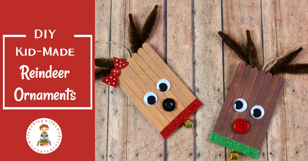 Learn how to make cute reindeer ornaments from craft sticks! These are easy enough for kids to make. They look great on the tree, and make perfect kid-made gifts.