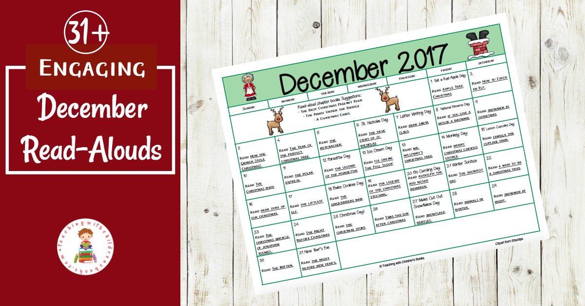 Books and activities to celebrate all month long! This December read aloud book and activity calendar is perfect for preschool and elementary educators.