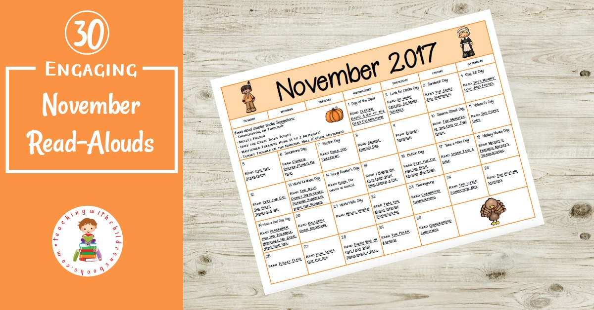 Books and activities to celebrate all month long! This November read aloud book and activity calendar is perfect for preschool and elementary classrooms.