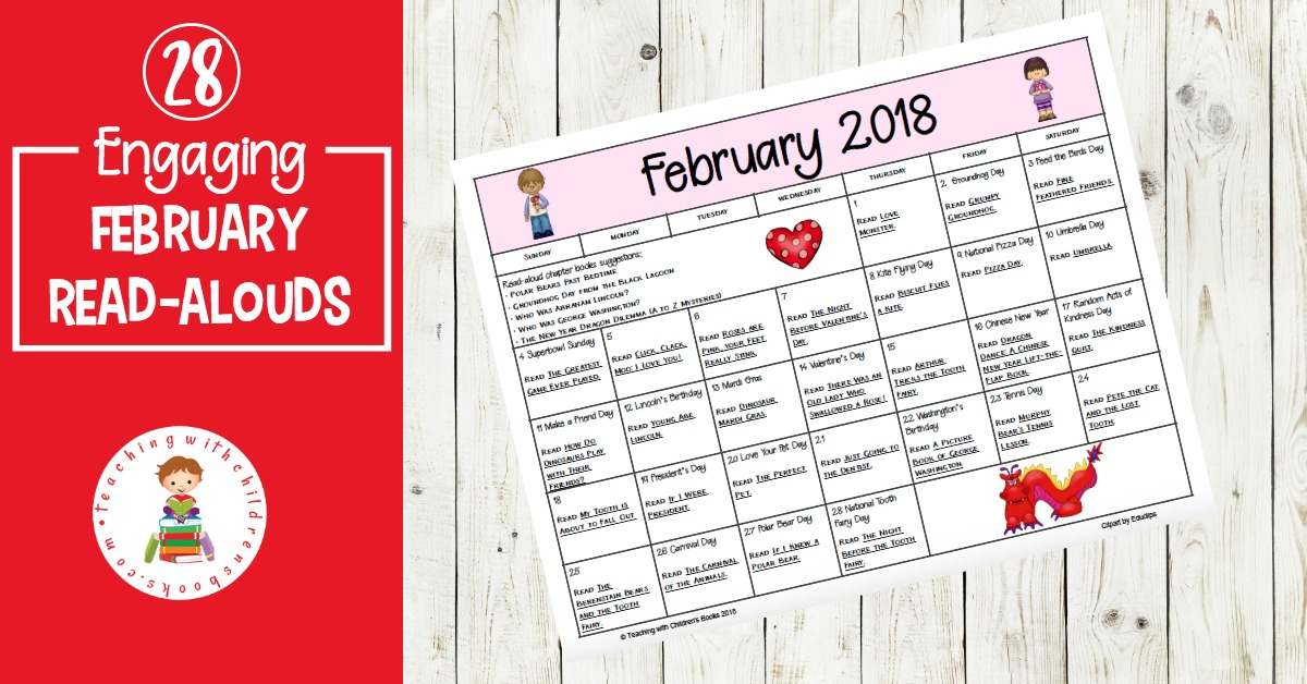 Great books and activities to celebrate all month long! This February read aloud book and activity calendar is perfect for preschool and elementary classrooms.