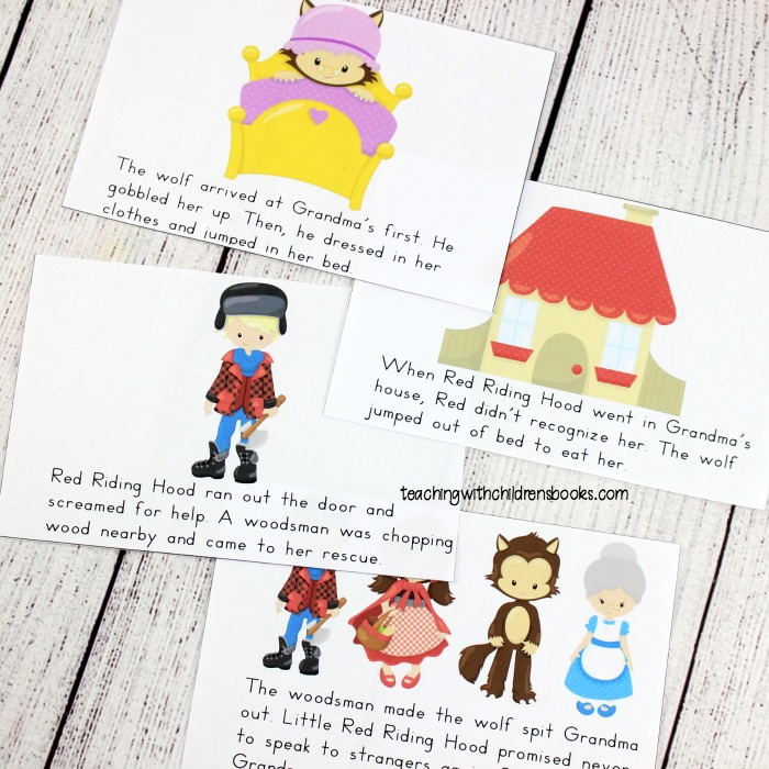 This set includes three versions of a Little Red Riding Hood mini book. Colorful images paired with a shortened version of the story make this perfect for early readers.