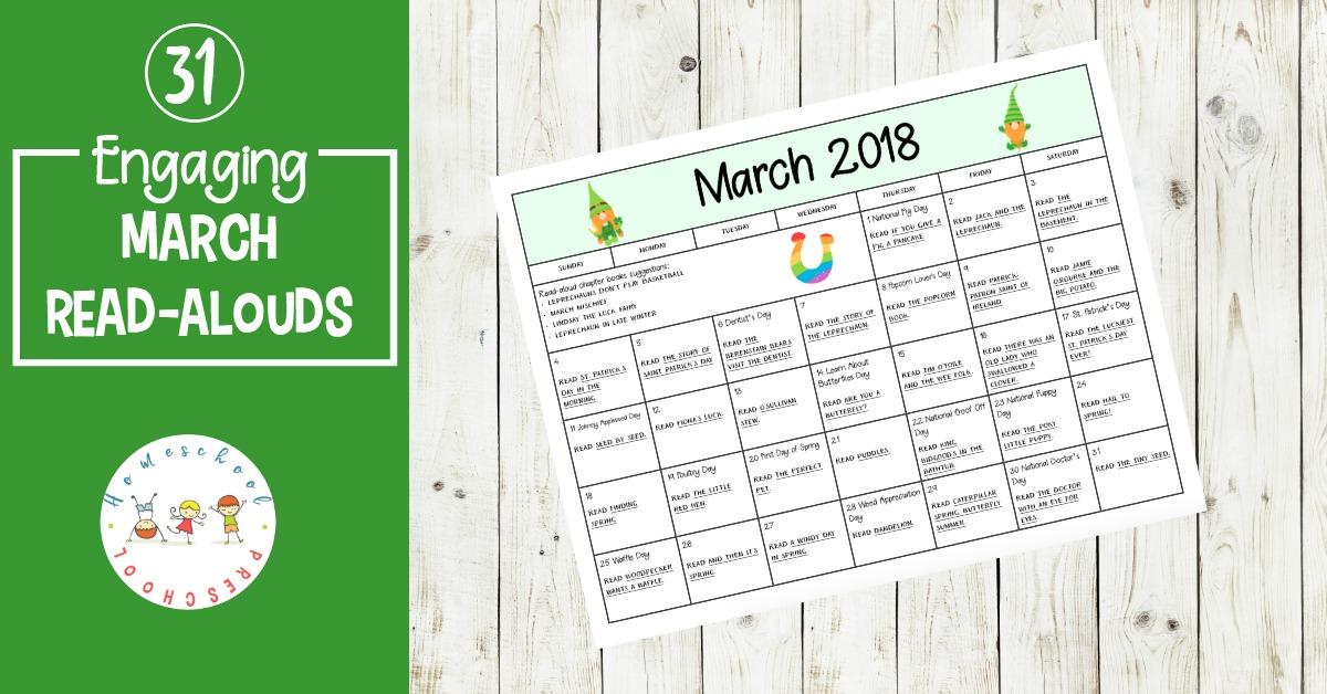 A great collection of books and activities to celebrate all month long! This March read aloudbook and activity calendar is perfect for preschool and elementary classrooms.