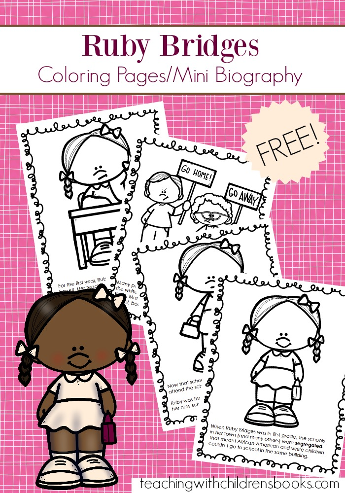 This Ruby Bridges coloring page packet features a 6-page mini biography for kids to read and color. This no fuss, no prep booklet is an engaging way to teach kids about Ruby Bridges.