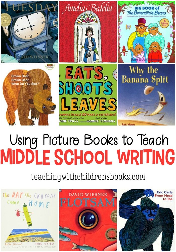 I love using picture books to teach writing in middle school. Using accessible texts for all levels of readers in upper elementary and middle grades helps students learn about writing with low risk, fun books!