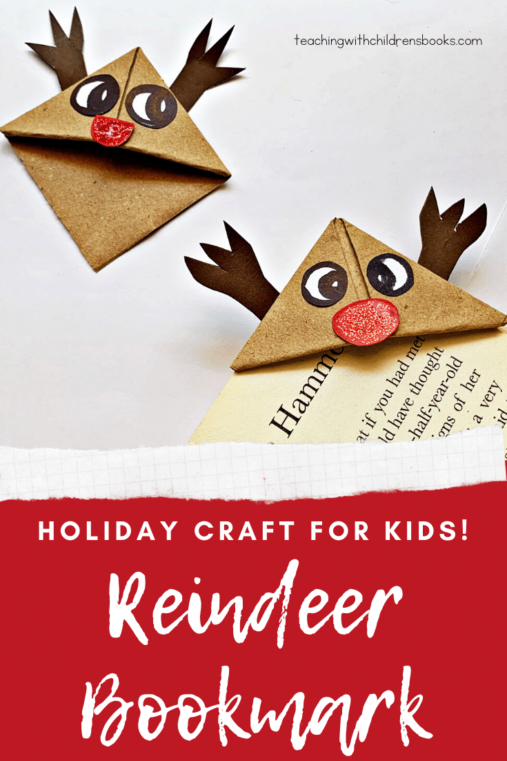 Here is a cute reindeer bookmark craft for kids! This tutorial is complete with pictures, instructions, and a free printable template.