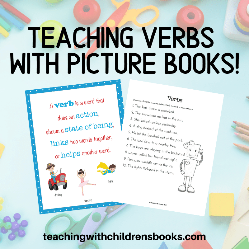 You won't believe how much fun it is to teach verbs with picture books! It's super simple with this book list and free mini-pack of printables.
