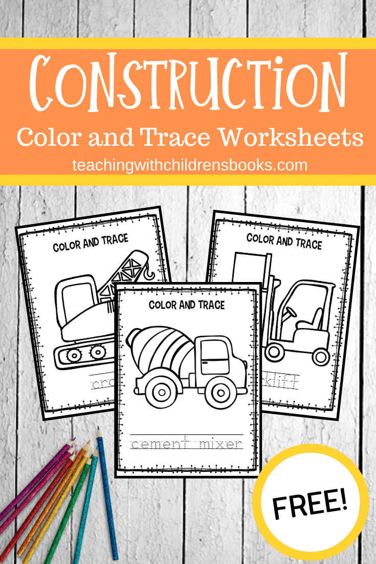 This set of Goodnight Goodnight Construction Site coloring pages is perfect for young readers! They can color the pictures and trace the words.