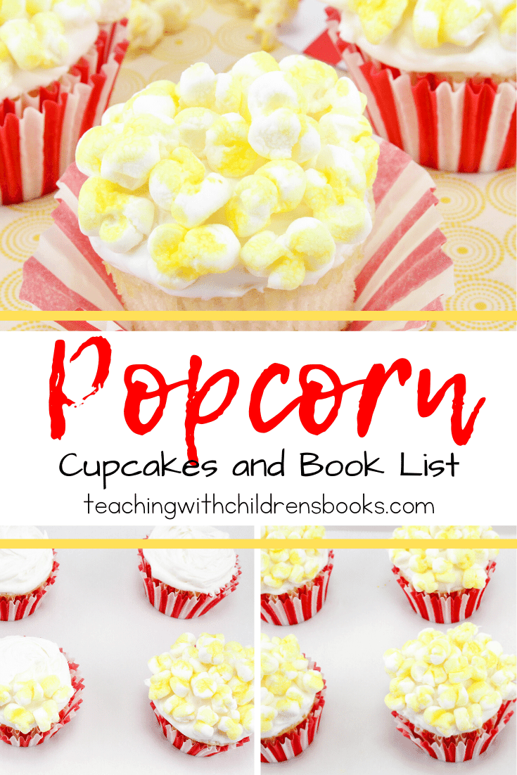 Whip up a batch of these popcorn cupcakes to much on while you read one or two popcorn themed books for kids! Perfect for class parties!