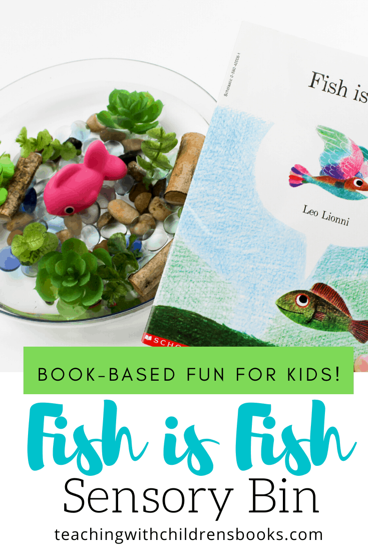 When you create this fun Fish is Fish sensory bin, your students will have an opportunity to reenact the story over and over again.