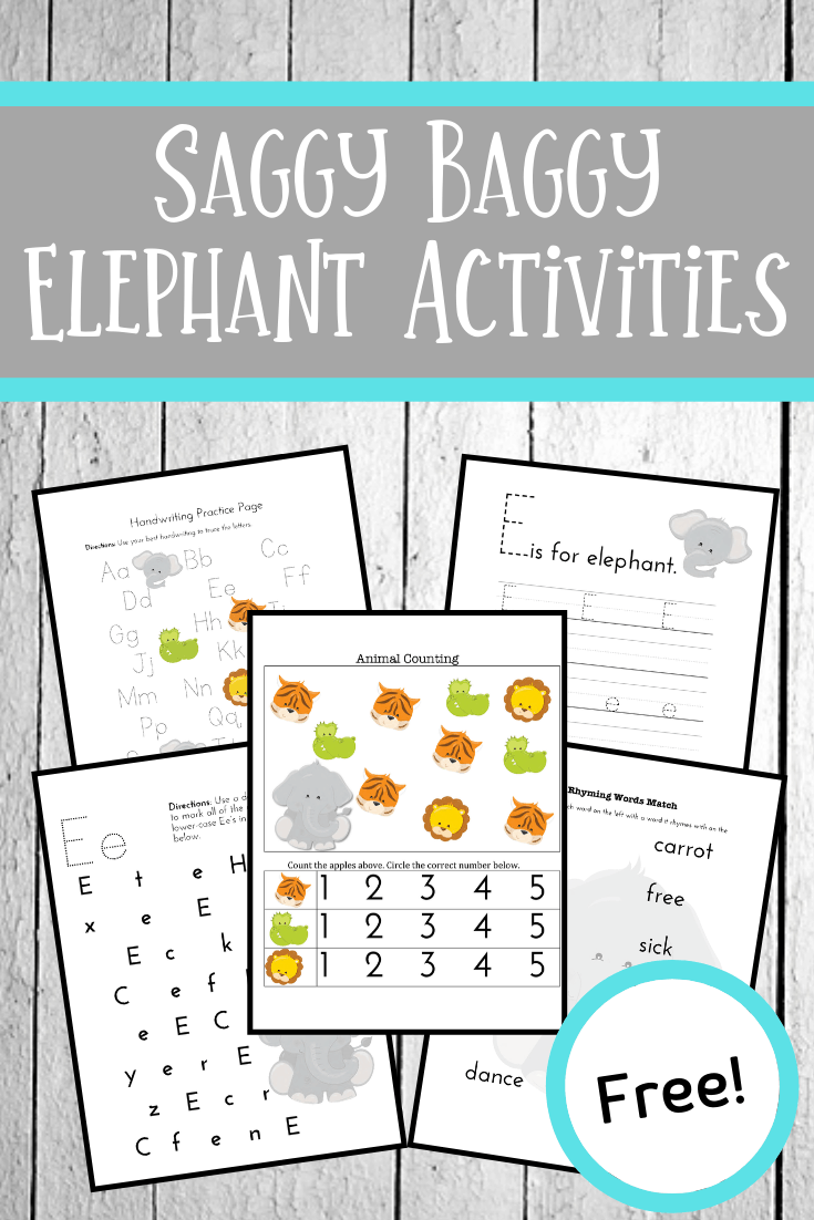 Download and print this fun The Saggy Baggy Elephant activity pack to help bring the story to life for kids ages 3-7. Perfect for home and school use!