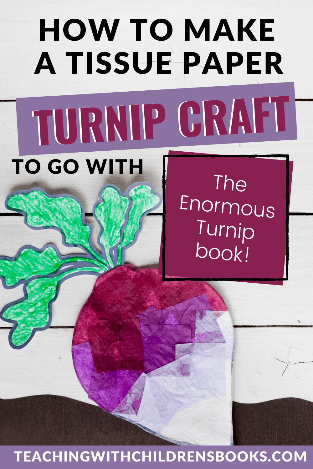 Book-based crafts help kids engage in the stories they read. This Enormous Turnip craft pairs nicely with any version of the folktale you have on hand.
